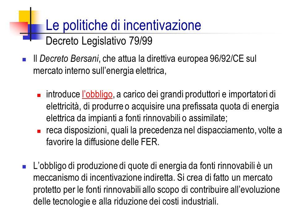 Le politiche di incentivazione Decreto Legislativo 79/99 Il Decreto Bersani, che attua la direttiva europea 96/92/CE sul mercato interno sullenergia e