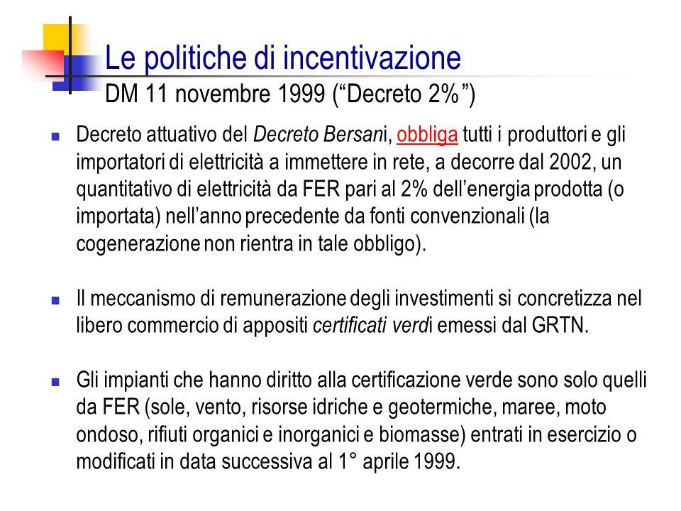 Le politiche di incentivazione DM 11 novembre 1999 (Decreto 2%) Decreto attuativo del Decreto Bersan i, obbliga tutti i produttori e gli importatori d