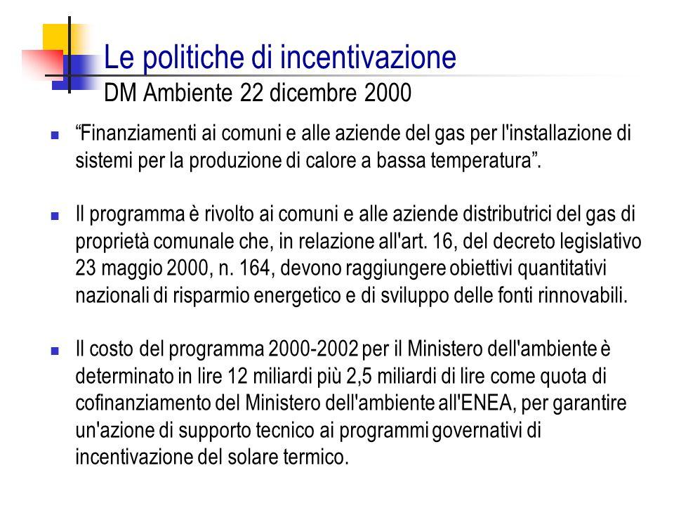 Le politiche di incentivazione DM Ambiente 22 dicembre 2000 Finanziamenti ai comuni e alle aziende del gas per l'installazione di sistemi per la produ