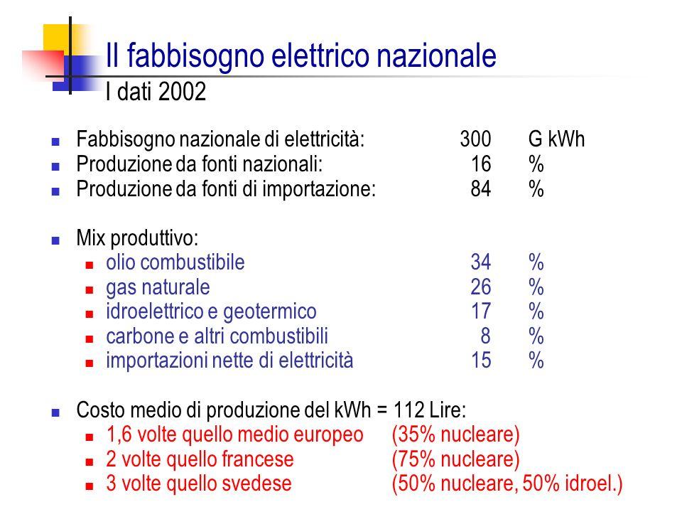 Il fabbisogno elettrico nazionale I dati 2002 Fabbisogno nazionale di elettricità: 300 G kWh Produzione da fonti nazionali: 16 % Produzione da fonti d