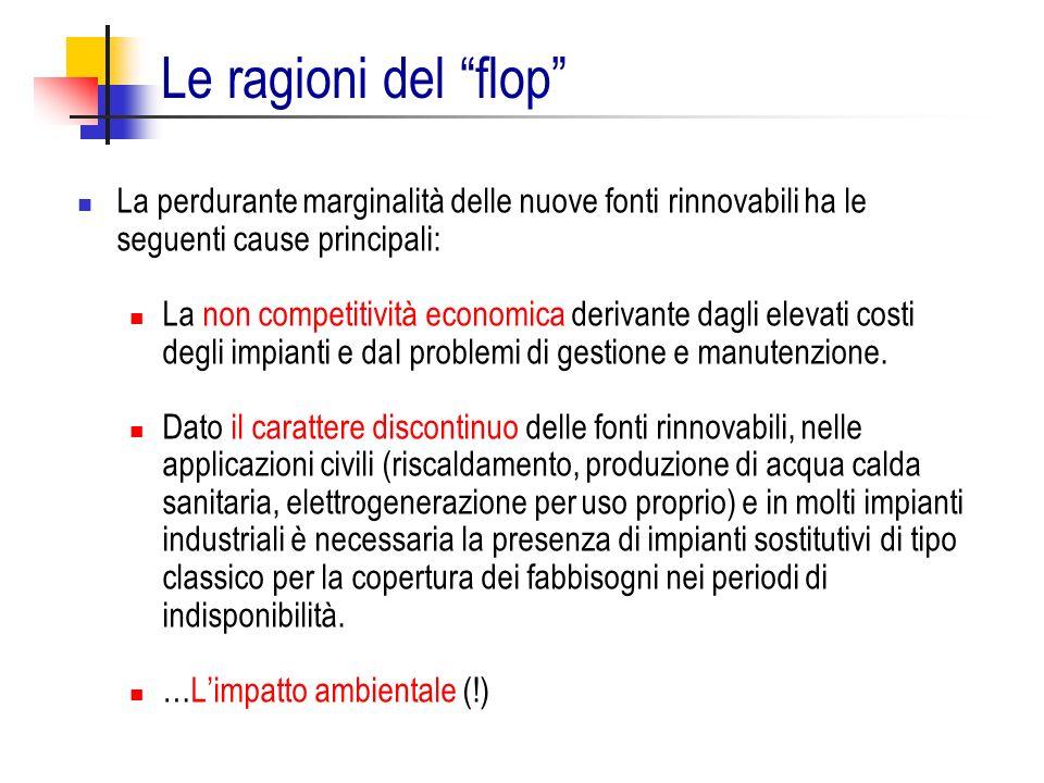 Le ragioni del flop La perdurante marginalità delle nuove fonti rinnovabili ha le seguenti cause principali: La non competitività economica derivante