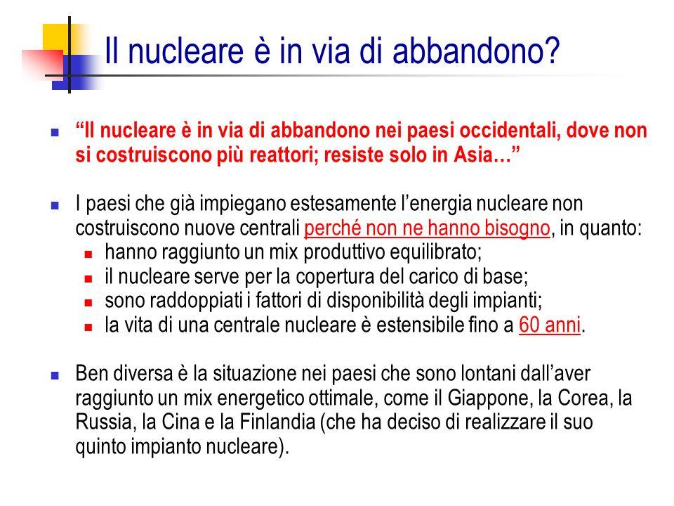 Il nucleare è in via di abbandono nei paesi occidentali, dove non si costruiscono più reattori; resiste solo in Asia… I paesi che già impiegano estesa