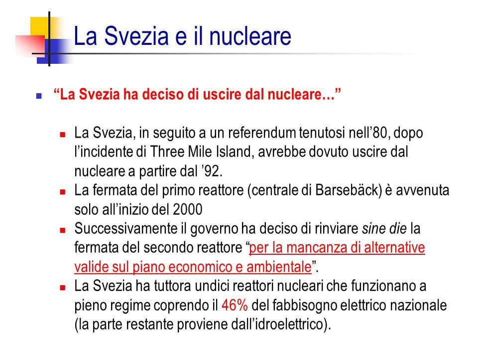 La Svezia ha deciso di uscire dal nucleare… La Svezia, in seguito a un referendum tenutosi nell80, dopo lincidente di Three Mile Island, avrebbe dovut
