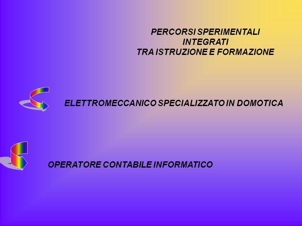 PERCORSI SPERIMENTALI INTEGRATI TRA ISTRUZIONE E FORMAZIONE ELETTROMECCANICO SPECIALIZZATO IN DOMOTICA OPERATORE CONTABILE INFORMATICO