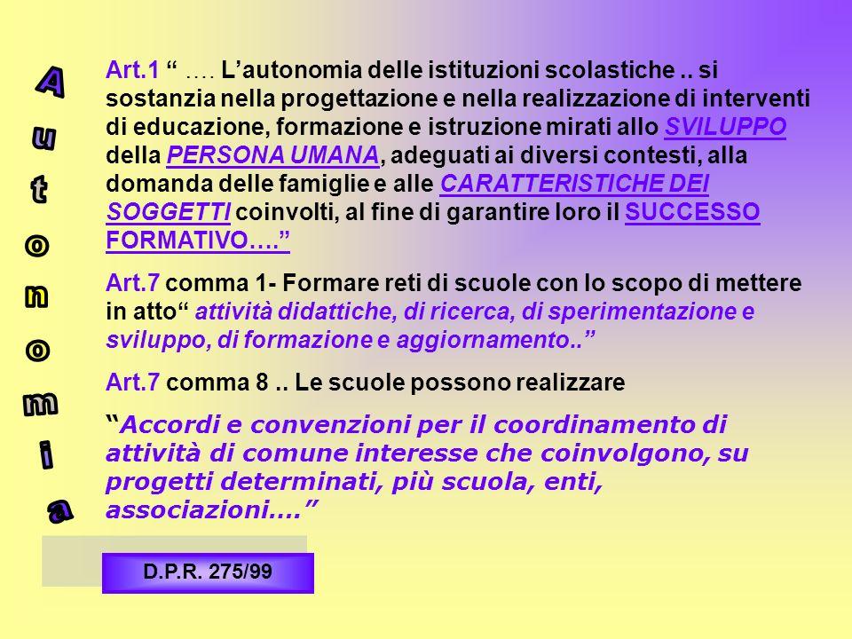 Art.1 …. Lautonomia delle istituzioni scolastiche.. si sostanzia nella progettazione e nella realizzazione di interventi di educazione, formazione e i