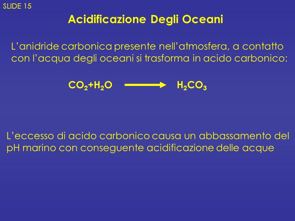 CO 2 +H 2 O Lanidride carbonica presente nellatmosfera, a contatto con lacqua degli oceani si trasforma in acido carbonico: H 2 CO 3 Acidificazione De
