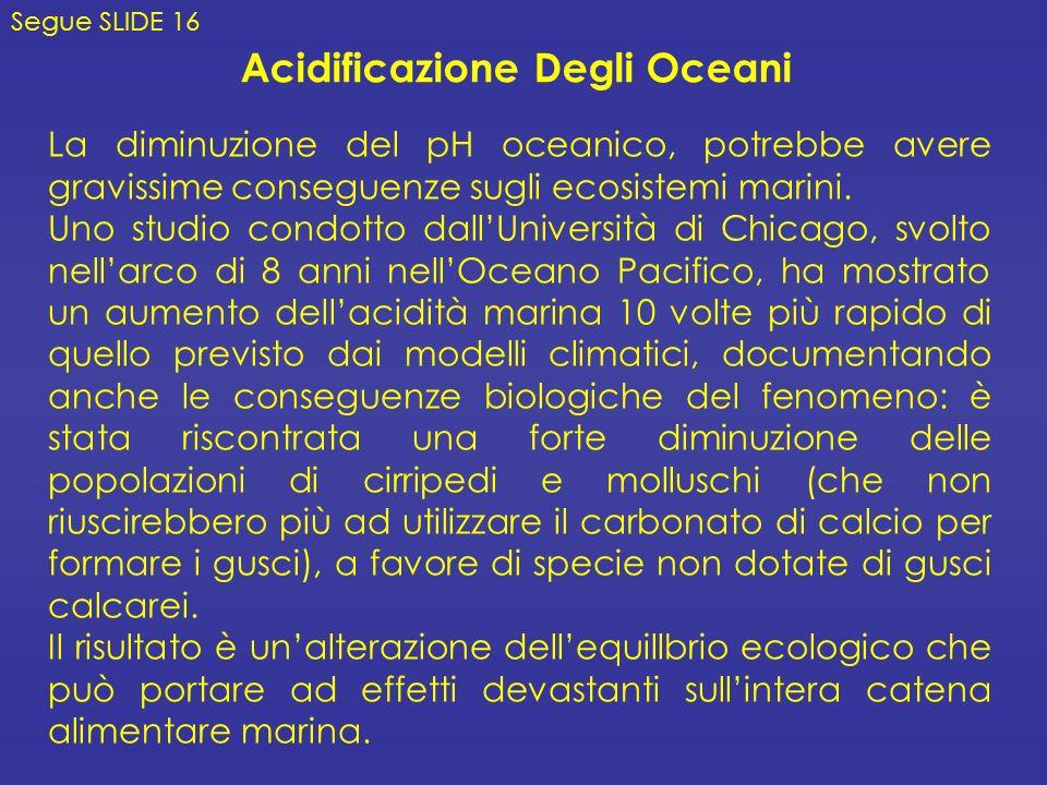 Acidificazione Degli Oceani Segue SLIDE 16 La diminuzione del pH oceanico, potrebbe avere gravissime conseguenze sugli ecosistemi marini.
