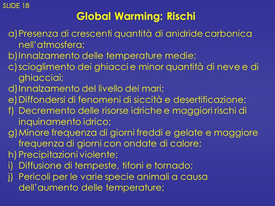 a)Presenza di crescenti quantità di anidride carbonica nellatmosfera; b)Innalzamento delle temperature medie; c)scioglimento dei ghiacci e minor quant