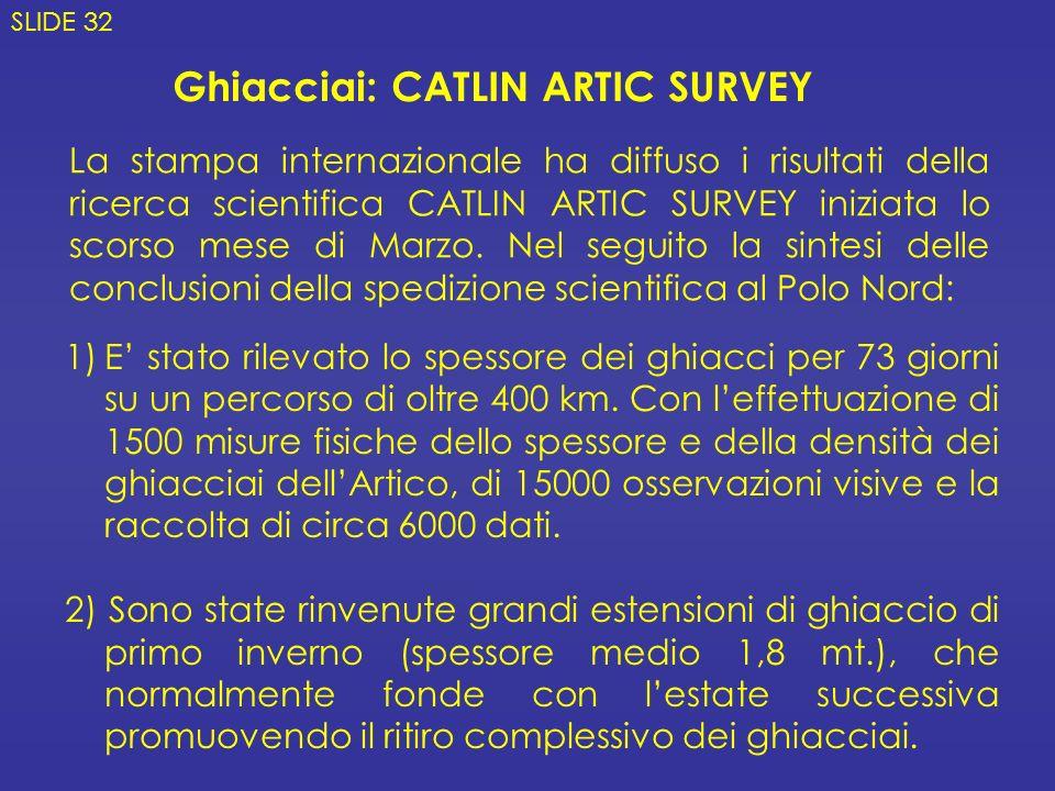 Ghiacciai: CATLIN ARTIC SURVEY 1)E stato rilevato lo spessore dei ghiacci per 73 giorni su un percorso di oltre 400 km. Con leffettuazione di 1500 mis
