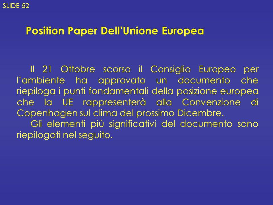 Position Paper DellUnione Europea Il 21 Ottobre scorso il Consiglio Europeo per lambiente ha approvato un documento che riepiloga i punti fondamentali