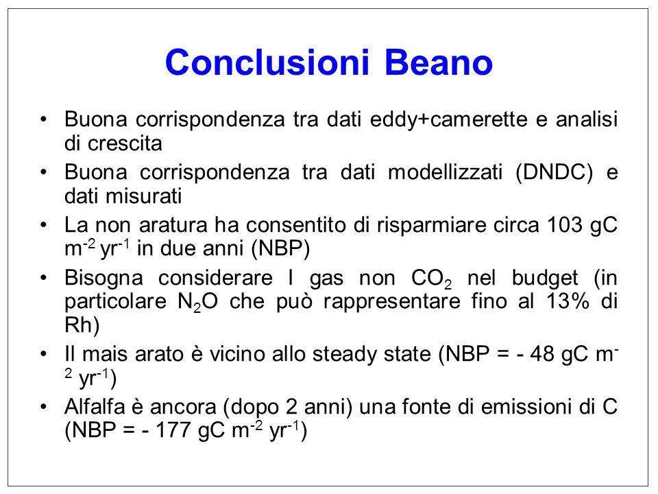 Conclusioni Beano Buona corrispondenza tra dati eddy+camerette e analisi di crescita Buona corrispondenza tra dati modellizzati (DNDC) e dati misurati