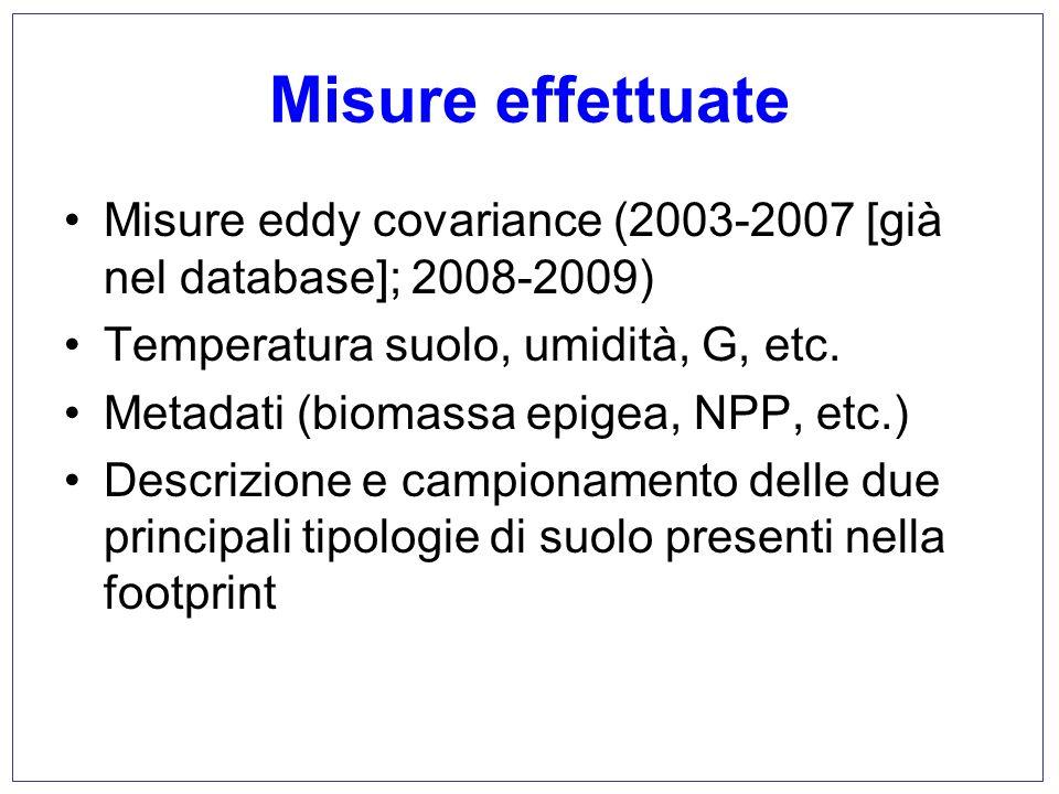 Misure effettuate Misure eddy covariance (2003-2007 [già nel database]; 2008-2009) Temperatura suolo, umidità, G, etc. Metadati (biomassa epigea, NPP,