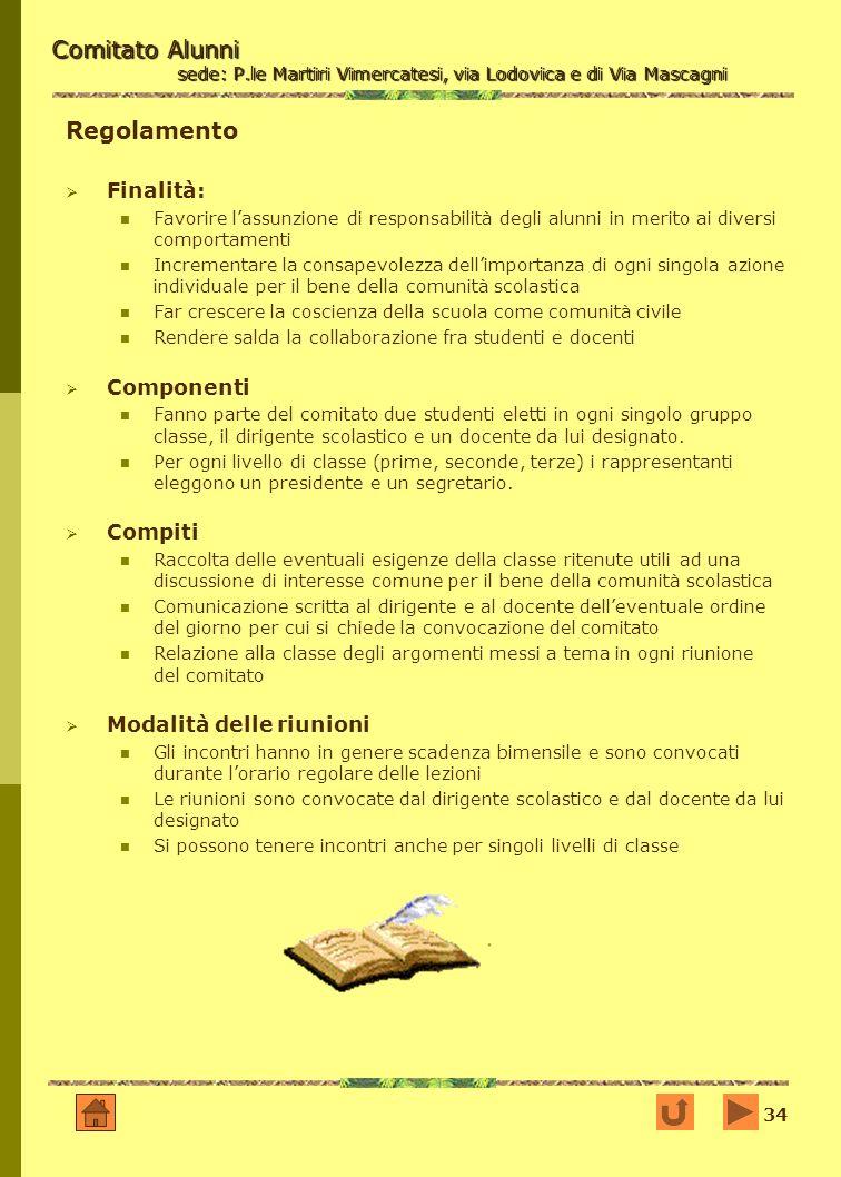 34 Comitato Alunni sede: P.le Martiri Vimercatesi, via Lodovica e di Via Mascagni Regolamento Finalità: Favorire lassunzione di responsabilità degli a