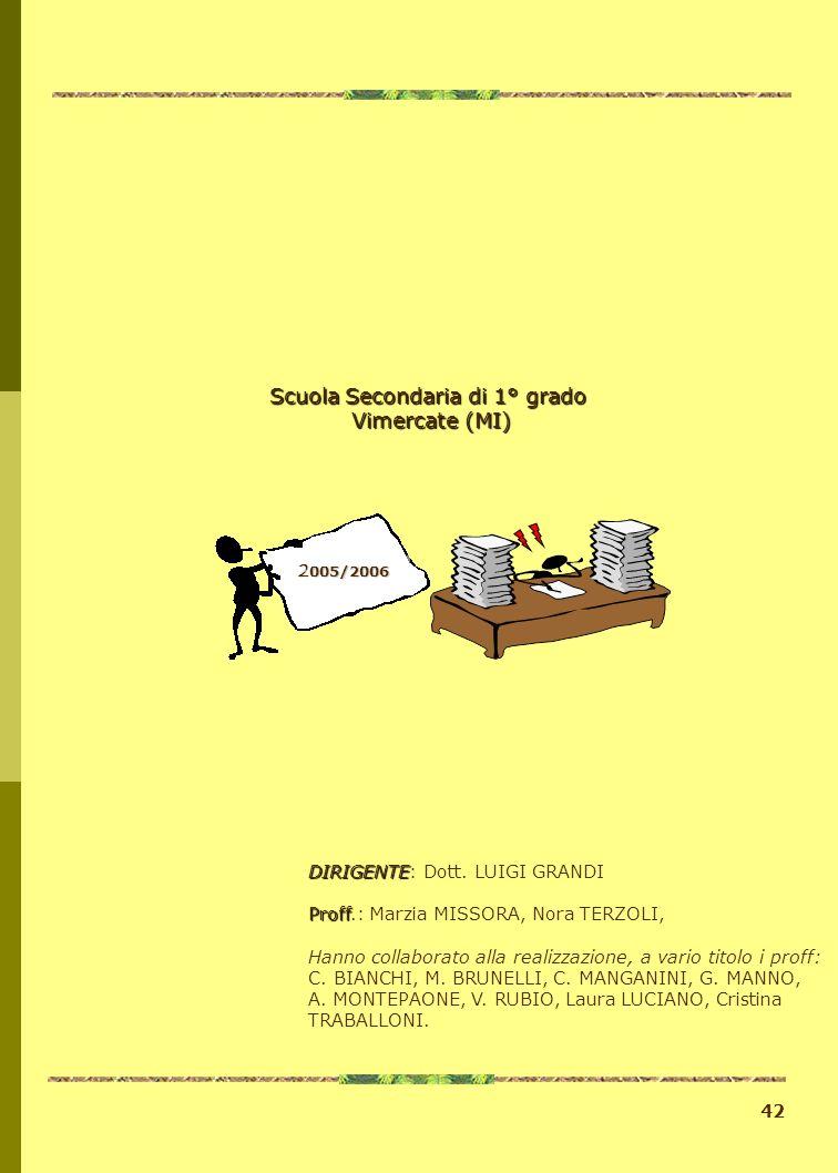 42 2 005/2006 DIRIGENTE DIRIGENTE: Dott. LUIGI GRANDI Proff Proff.: Marzia MISSORA, Nora TERZOLI, Hanno collaborato alla realizzazione, a vario titolo