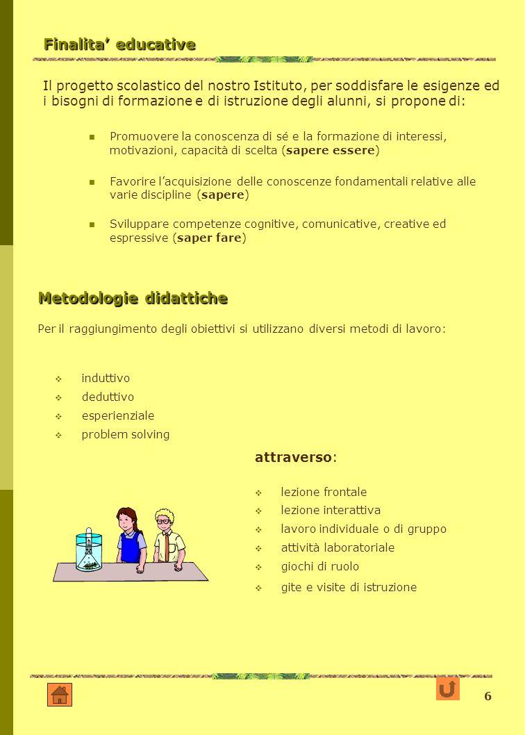 6 Finalita educative Il progetto scolastico del nostro Istituto, per soddisfare le esigenze ed i bisogni di formazione e di istruzione degli alunni, s