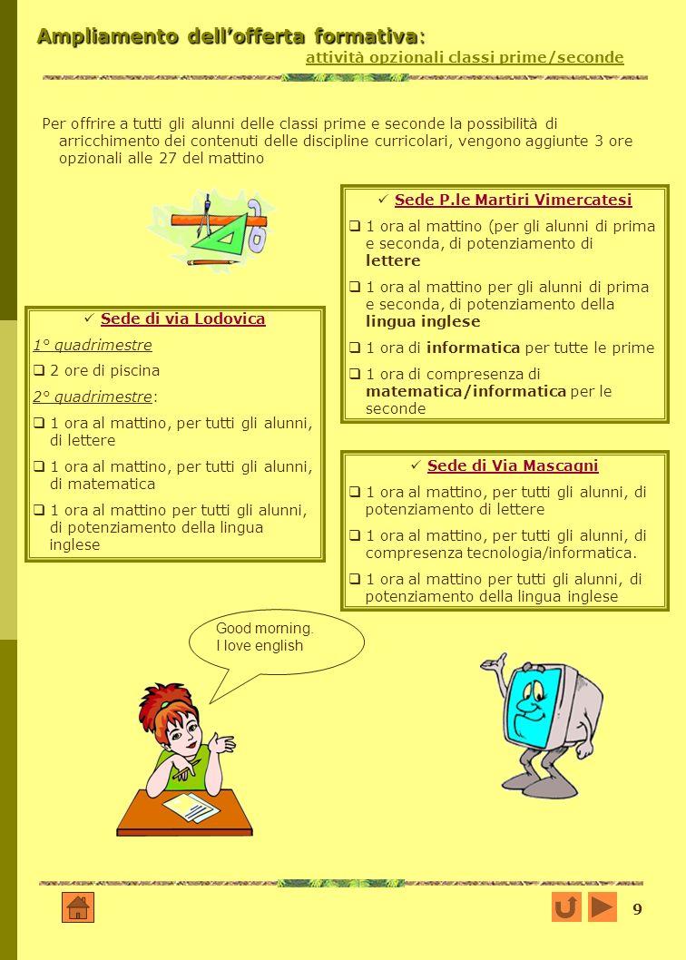 9 Ampliamento dellofferta formativa: Ampliamento dellofferta formativa: attività opzionali classi prime/seconde Per offrire a tutti gli alunni delle c