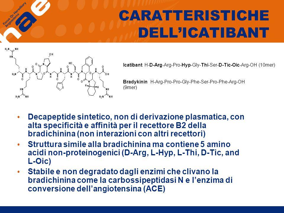 CARATTERISTICHE DELLICATIBANT Decapeptide sintetico, non di derivazione plasmatica, con alta specificità e affinità per il recettore B2 della bradichi
