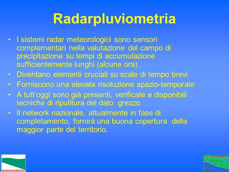 Radarpluviometria I sistemi radar meteorologici sono sensori complementari nella valutazione del campo di precipitazione su tempi di accumulazione suf
