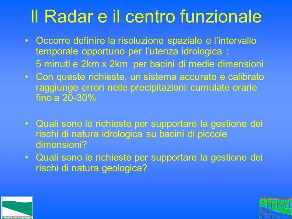 Il Radar e il centro funzionale Occorre definire la risoluzione spaziale e lintervallo temporale opportuno per lutenza idrologica : 5 minuti e 2km x 2