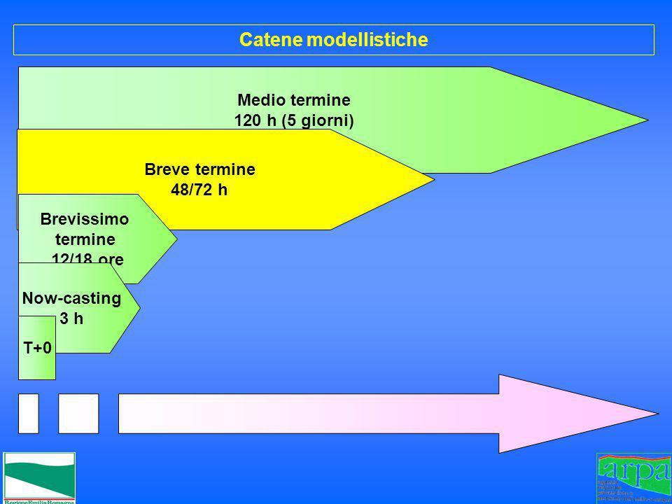 Medio termine 120 h (5 giorni) Breve termine 48/72 h Brevissimo termine 12/18 ore Catene modellistiche Now-casting 3 h T+0