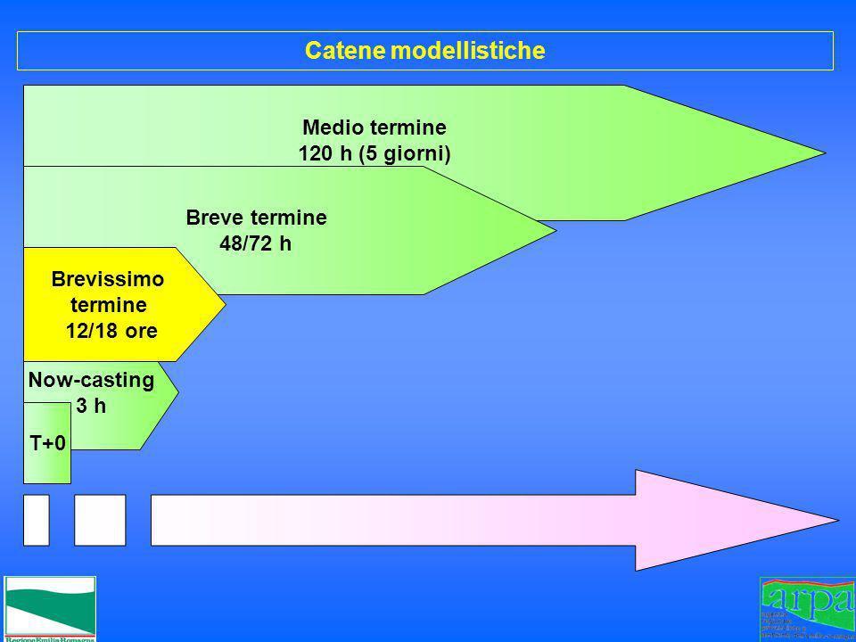Medio termine 120 h (5 giorni) Breve termine 48/72 h Catene modellistiche Now-casting 3 h T+0 Brevissimo termine 12/18 ore
