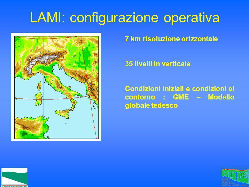 LAMI: configurazione operativa 7 km risoluzione orizzontale 35 livelli in verticale Condizioni Iniziali e condizioni al contorno : GME – Modello globa