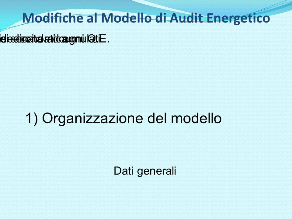 1) Organizzazione del modello Dati generali Una sezione dedicata ad ogni Q.E.Una sezione con i dati cumulatiAnalisi economica Modifiche al Modello di Audit Energetico