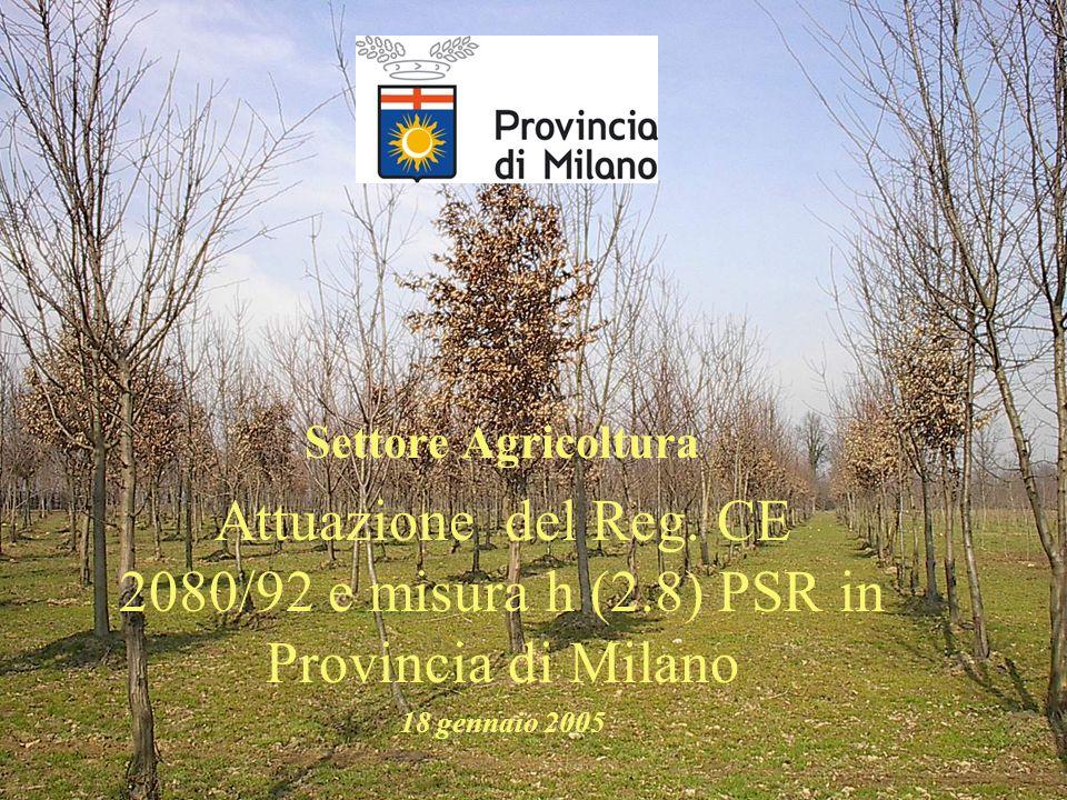 Settore Agricoltura Attuazione del Reg. CE 2080/92 e misura h (2.8) PSR in Provincia di Milano 18 gennaio 2005