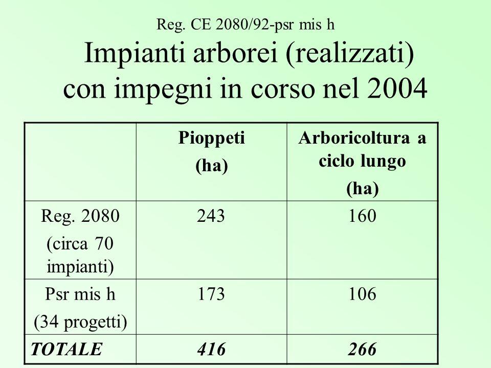 Reg. CE 2080/92-psr mis h Impianti arborei (realizzati) con impegni in corso nel 2004 Pioppeti (ha) Arboricoltura a ciclo lungo (ha) Reg. 2080 (circa