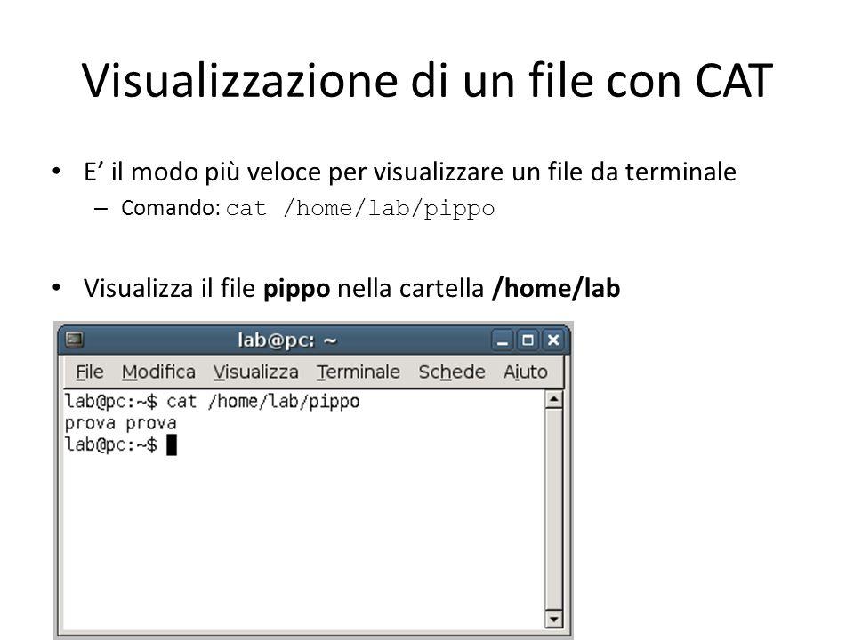 Visualizzazione di un file esadecimale con HEXDUMP E il modo più veloce per visualizzare un file in esadecimale – Comando: hexdump /home/lab/pippo Visualizza il file pippo nella cartella /home/lab
