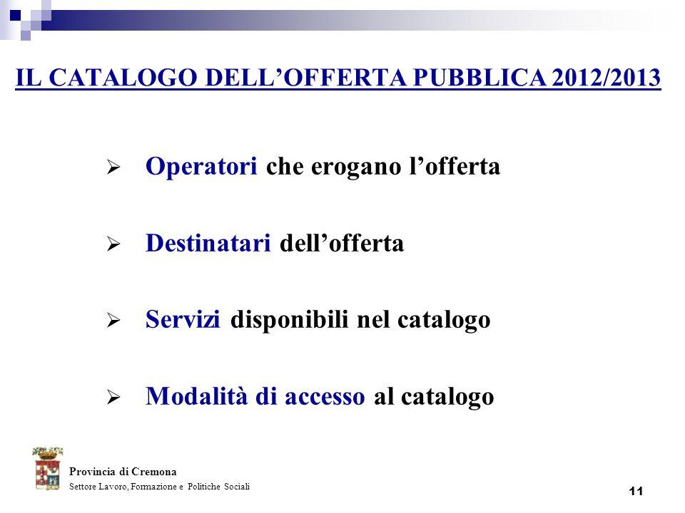 11 IL CATALOGO DELLOFFERTA PUBBLICA 2012/2013 Operatori che erogano lofferta Destinatari dellofferta Servizi disponibili nel catalogo Modalità di acce