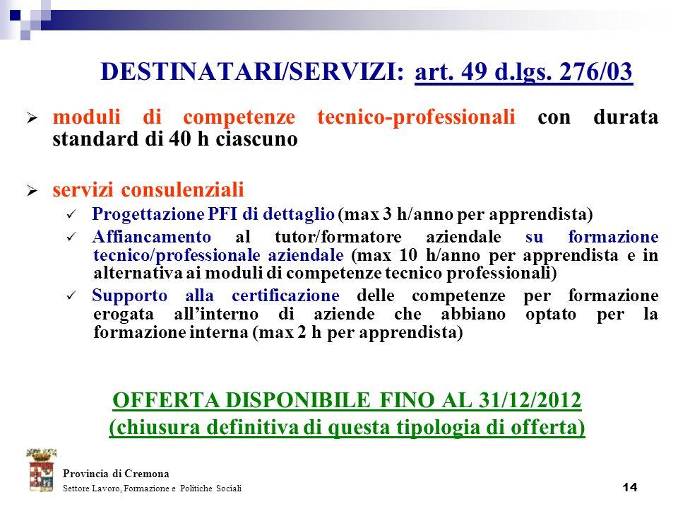 14 DESTINATARI/SERVIZI: art. 49 d.lgs. 276/03 moduli di competenze tecnico-professionali con durata standard di 40 h ciascuno servizi consulenziali Pr