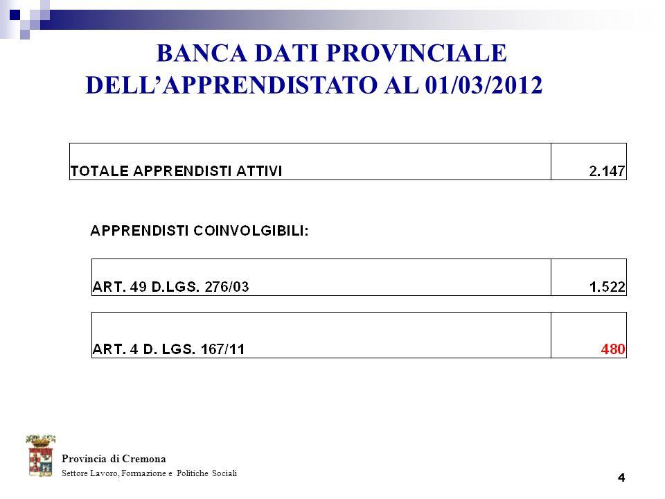 4 BANCA DATI PROVINCIALE Provincia di Cremona Settore Lavoro, Formazione e Politiche Sociali DELLAPPRENDISTATO AL 01/03/2012