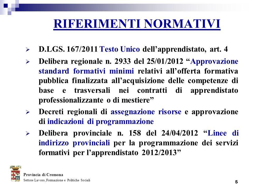 5 RIFERIMENTI NORMATIVI D.LGS. 167/2011 Testo Unico dellapprendistato, art. 4 Delibera regionale n. 2933 del 25/01/2012 Approvazione standard formativ