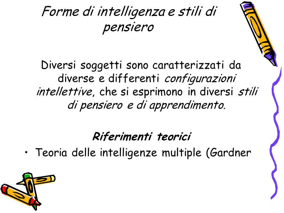 Forme di intelligenza e stili di pensiero Diversi soggetti sono caratterizzati da diverse e differenti configurazioni intellettive, che si esprimono i