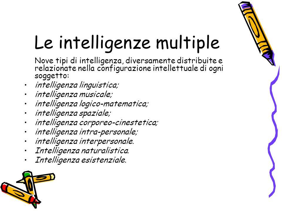 Le intelligenze multiple Nove tipi di intelligenza, diversamente distribuite e relazionate nella configurazione intellettuale di ogni soggetto: intell