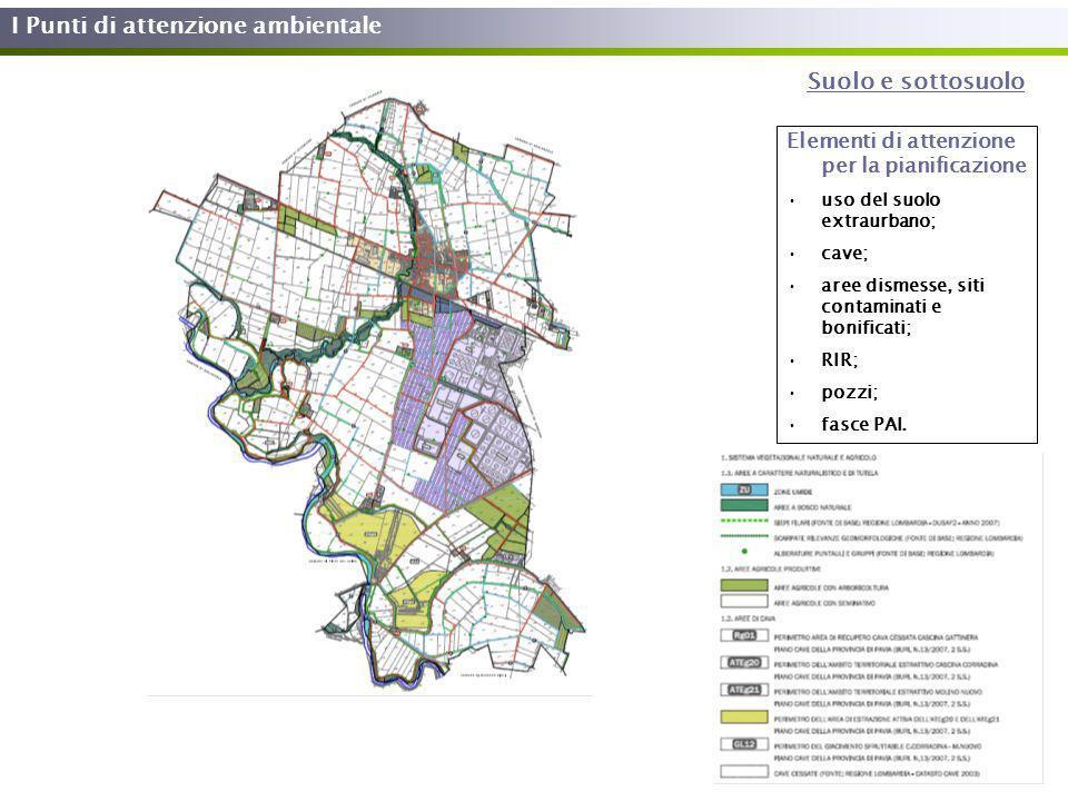I Punti di attenzione ambientale Suolo e sottosuolo Elementi di attenzione per la pianificazione uso del suolo extraurbano; cave; aree dismesse, siti