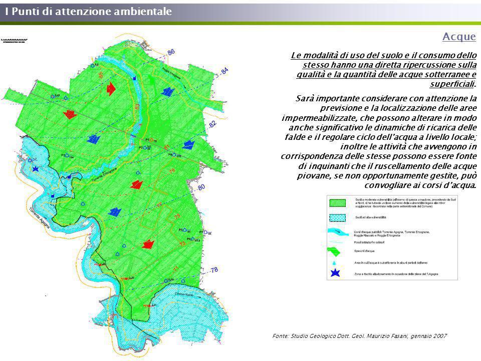 I Punti di attenzione ambientale Acque Le modalità di uso del suolo e il consumo dello stesso hanno una diretta ripercussione sulla qualità e la quant