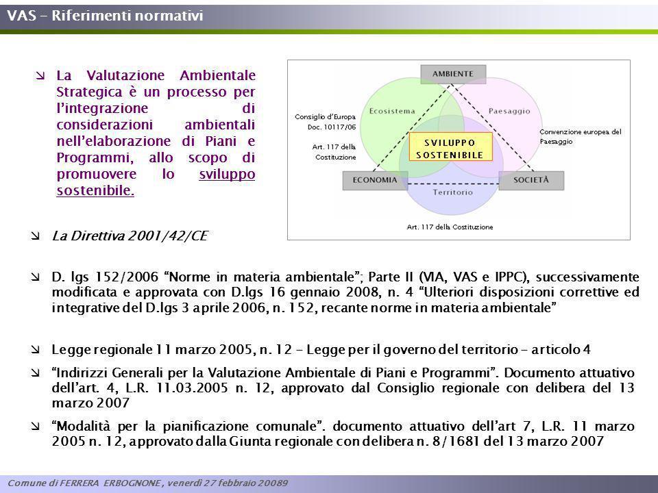 VAS – Riferimenti normativi La Direttiva 2001/42/CE Legge regionale 11 marzo 2005, n. 12 - Legge per il governo del territorio - articolo 4 Indirizzi