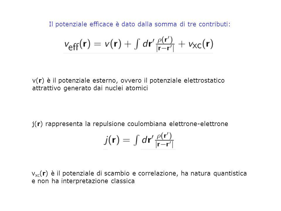 Il potenziale efficace è dato dalla somma di tre contributi: v(r) è il potenziale esterno, ovvero il potenziale elettrostatico attrattivo generato dai