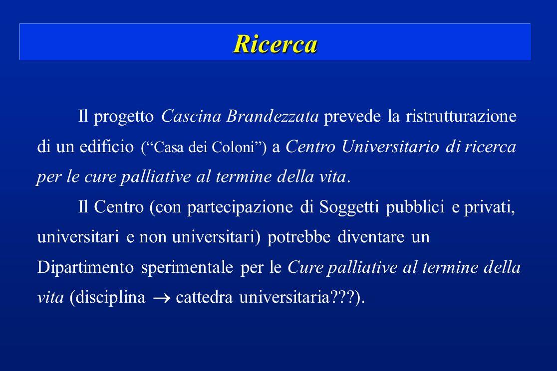 Ricerca Il progetto Cascina Brandezzata prevede la ristrutturazione di un edificio (Casa dei Coloni) a Centro Universitario di ricerca per le cure pal