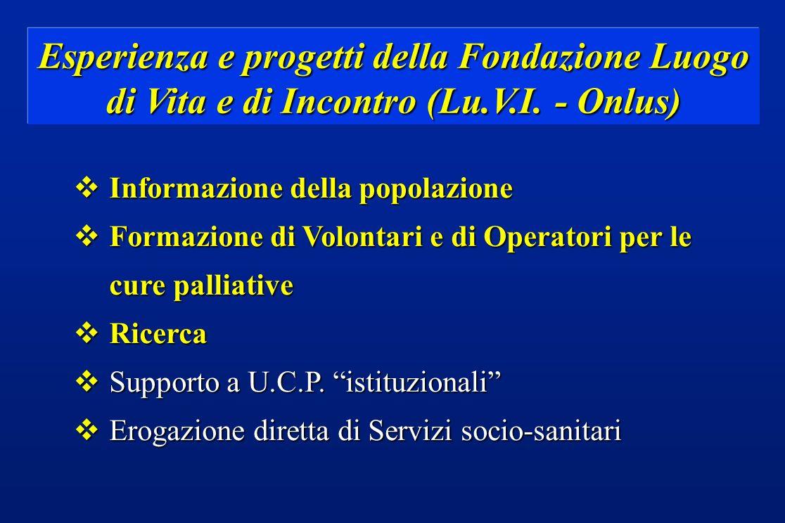 Esperienza e progetti della Fondazione Luogo di Vita e di Incontro (Lu.V.I. - Onlus) vInformazione della popolazione vFormazione di Volontari e di Ope