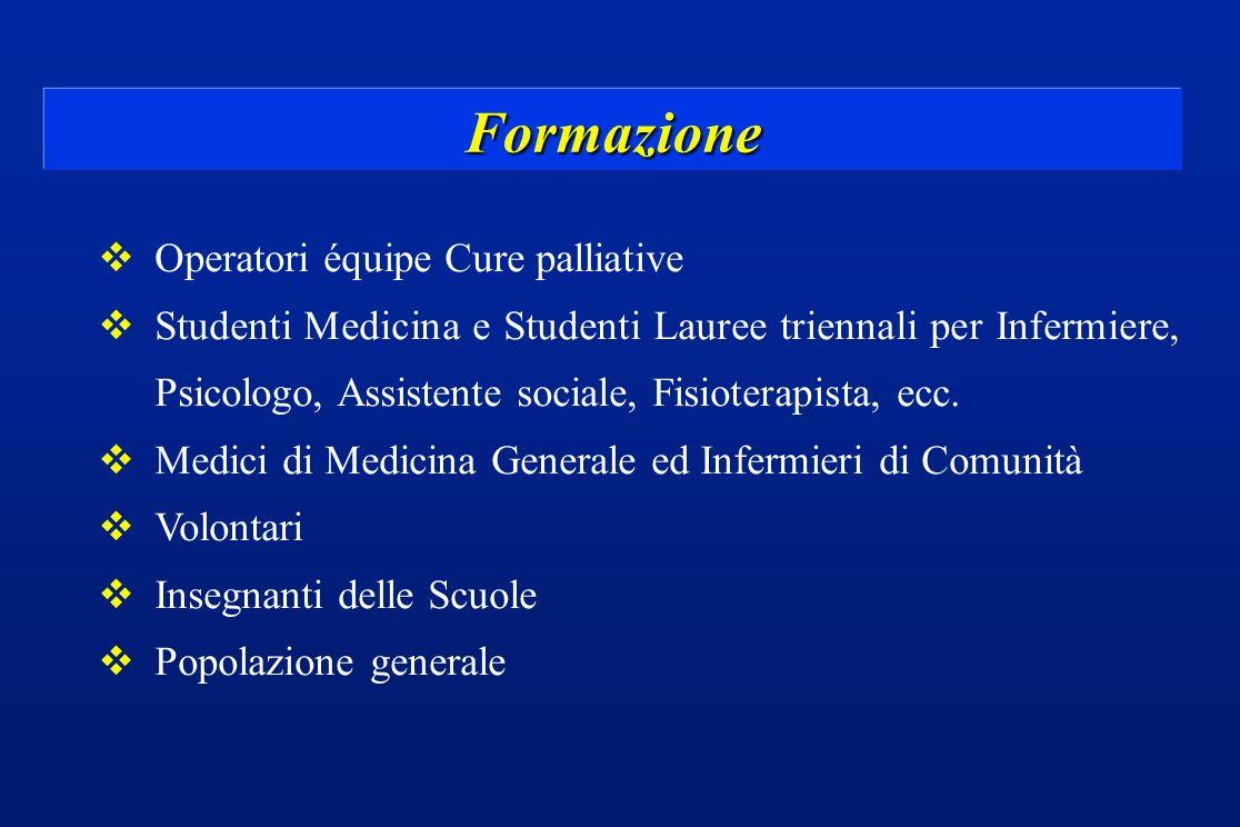 Formazione vOperatori équipe Cure palliative vStudenti Medicina e Studenti Lauree triennali per Infermiere, Psicologo, Assistente sociale, Fisioterapi