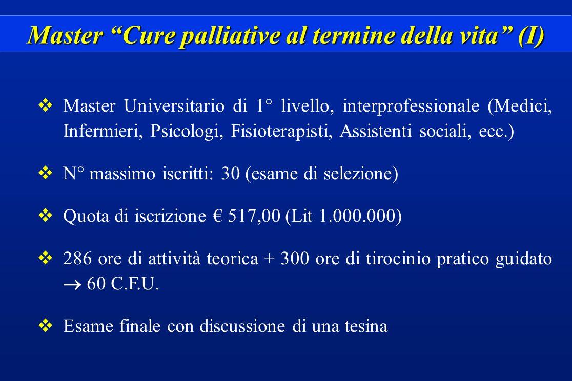 Master Cure palliative al termine della vita (I) vMaster Universitario di 1° livello, interprofessionale (Medici, Infermieri, Psicologi, Fisioterapist