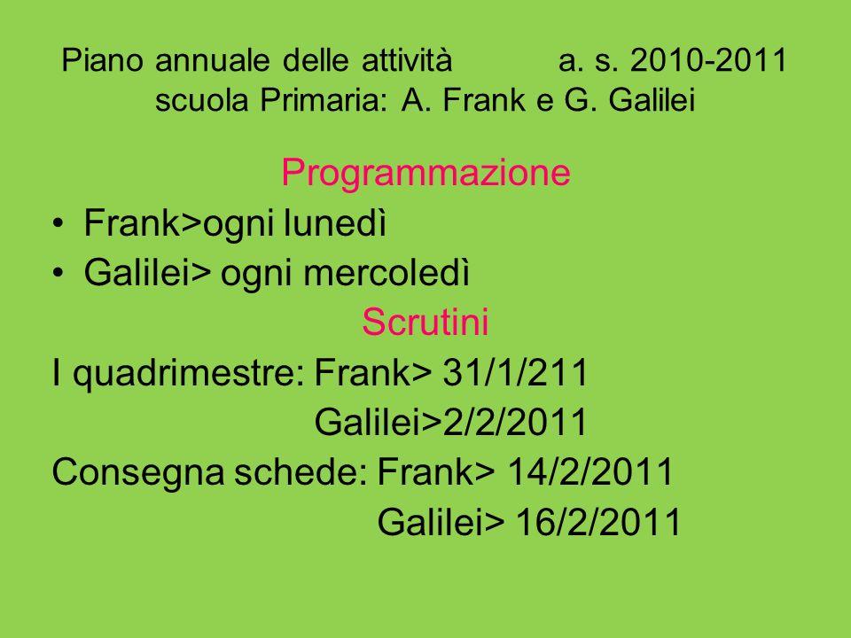 Piano annuale delle attività a. s. 2010-2011 scuola Primaria: A. Frank e G. Galilei Programmazione Frank>ogni lunedì Galilei> ogni mercoledì Scrutini
