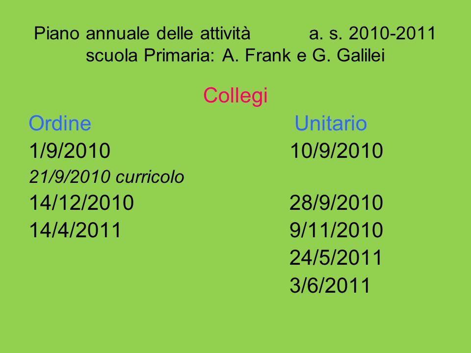 Piano annuale delle attività a. s. 2010-2011 scuola Primaria: A. Frank e G. Galilei Collegi Ordine Unitario 1/9/2010 10/9/2010 21/9/2010 curricolo 14/