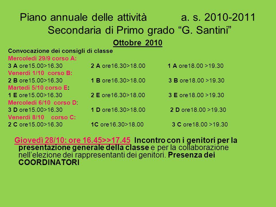 Piano annuale delle attività a. s. 2010-2011 Secondaria di Primo grado G. Santini Ottobre 2010 Convocazione dei consigli di classe Mercoledì 29/9 cors