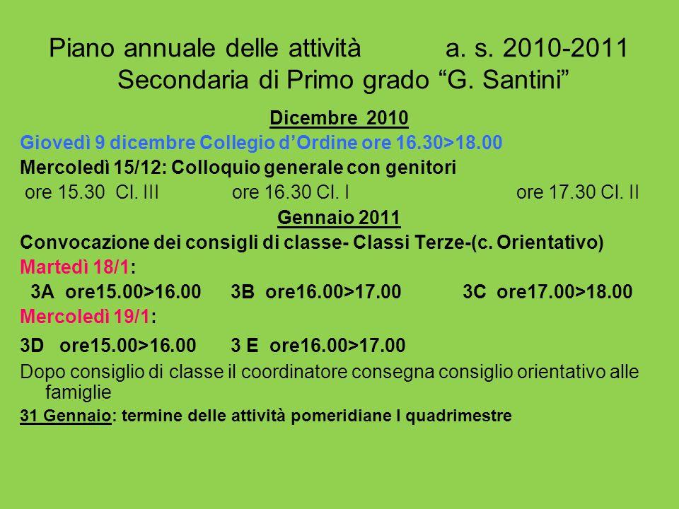 Piano annuale delle attività a. s. 2010-2011 Secondaria di Primo grado G. Santini Dicembre 2010 Giovedì 9 dicembre Collegio dOrdine ore 16.30>18.00 Me