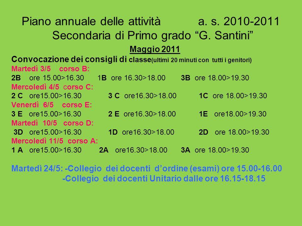 Piano annuale delle attività a. s. 2010-2011 Secondaria di Primo grado G. Santini Maggio 2011 Convocazione dei consigli di classe (ultimi 20 minuti co