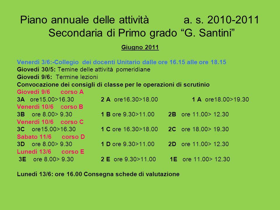 Piano annuale delle attività a. s. 2010-2011 Secondaria di Primo grado G. Santini Giugno 2011 Venerdì 3/6:-Collegio dei docenti Unitario dalle ore 16.